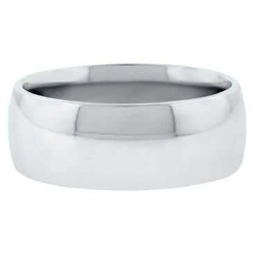 14k White Gold 8mm Comfort Fit Dome Wedding Band Heavy Weight