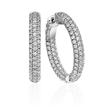 14K White Gold Pave Set Diamond Hoop Earring (2.67ctw.)