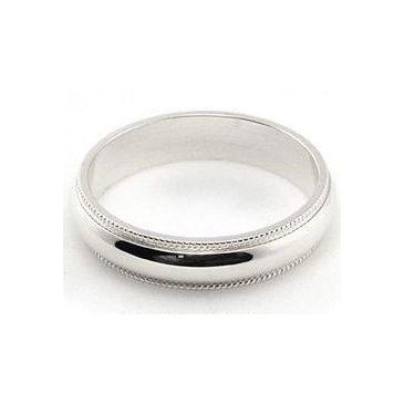 14k White Gold 4mm Milgrain Wedding Band Medium Weight