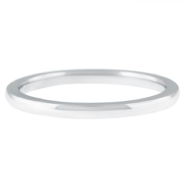 18k White Gold 2mm Comfort Fit Dome Wedding Band Heavy Weight