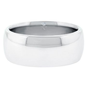 18k White Gold 9mm Comfort Fit Dome Wedding Band Heavy Weight