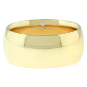 18k Yellow Gold 9mm Comfort Fit Dome Wedding Band Heavy Weight