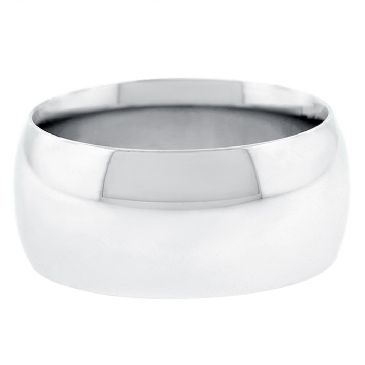 18k White Gold 10mm Comfort Fit Dome Wedding Band Heavy Weight