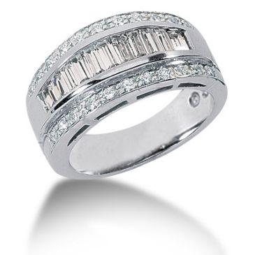 14K Round Brilliant, Baguette Diamond Anniversary Ring (1.41ctw.)