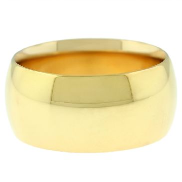 18k Yellow Gold 10mm Comfort Fit Dome Wedding Band Heavy Weight