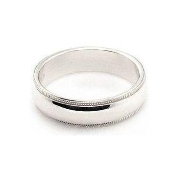 14k White Gold 5mm Milgrain Wedding Band Medium Weight