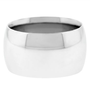 14k White Gold 12mm Comfort Fit Dome Wedding Band Heavy Weight