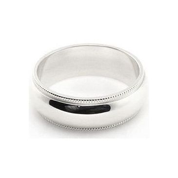 14k White Gold 6mm Milgrain Wedding Band Medium Weight