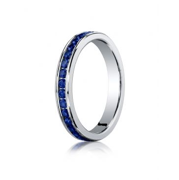 18K White Gold 3mm Channel Set  Blue Sapphire Eternity Ring