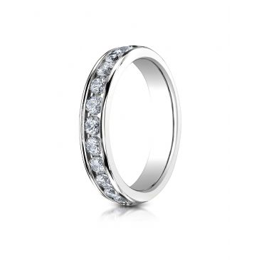 18K White Gold 4mm High Polished Channel Set 12-Stone Diamond Ring (.72ct)