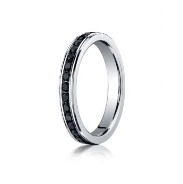14K White Gold 3mm Channel Set 36-Stone Black Diamond Eternity Ring