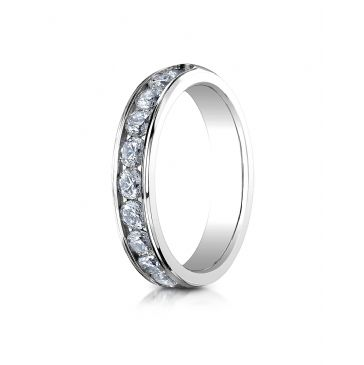 18K White Gold 4mm High Polished Channel Set 12-Stone Diamond Ring (.96ct)