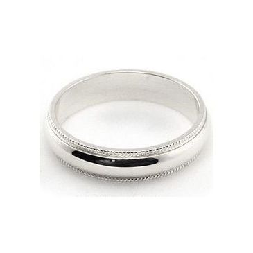 14k White Gold 4mm Milgrain Wedding Band Heavy Weight Comfort Fit
