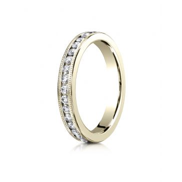 18K YELLOW GOLD 3mm Channel Set  Eternity Ring with Milgrain.