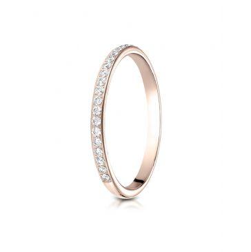14k Rose Gold 2mm pave set diamond  ring