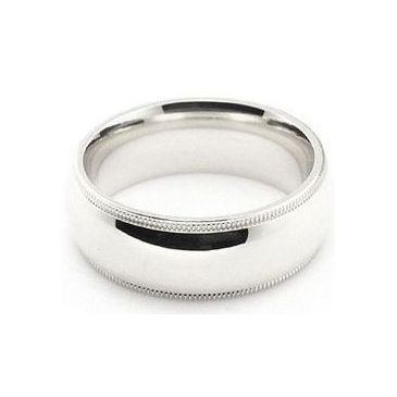 14k White Gold 7mm Milgrain Wedding Band Medium Weight