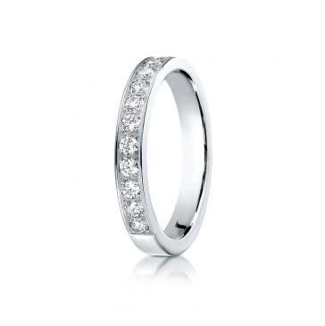 14k White Gold 3mm high polish pave set 12 Stone Diamond Ring (.48)