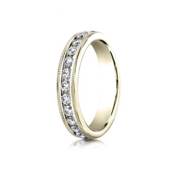 18K YELLOW GOLD 4mm Channel Set  Eternity Ring with Milgrain.