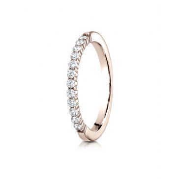 14k Rose Gold 2mm high polish Shared Prong 12 Stone Diamond Ring (.24)