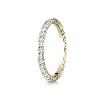 14k Yellow Gold 2mm high polish Shared Prong  Diamond Eternity Ring 0.6ctw. - 0.74ctw.