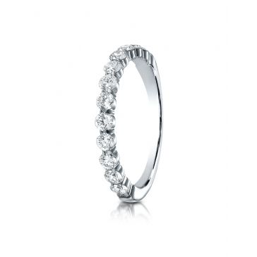 14k White Gold 3mm high polish Shared Prong 12 Stone Diamond Ring (.72)