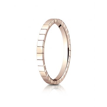 14k ROSE GOLD 2mm High Polished Carved Design Band