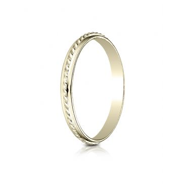 14k Yellow Gold 2mm High Polished Rope Center Design Band