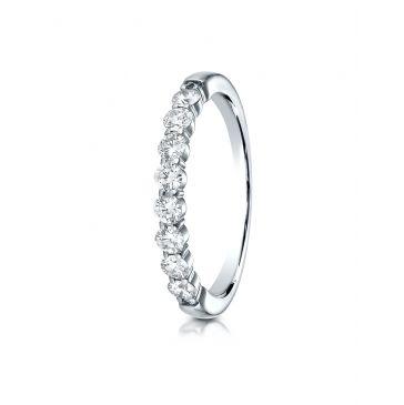14k White Gold 3mm high polish Shared Prong 8 Stone Diamond Ring (.48)