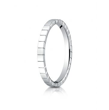 14k White Gold 2mm High Polished Carved Design Band