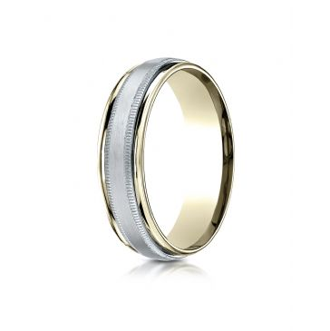 14k Two-Toned 6mm Comfort-Fit Satin Finish Carved Design Band with Milgrain.