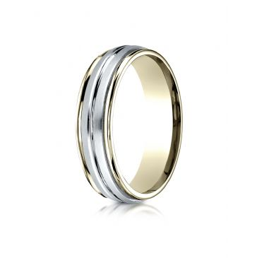 14k Two-Toned 6mm Comfort-Fit High Polished Center Cut Carved Design Band