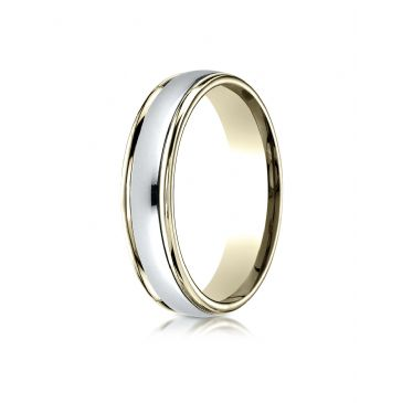 14k Two-Toned 4mm Comfort-Fit High Polished Carved Design Band