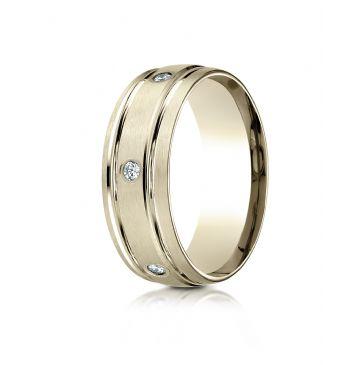 14k Yellow Gold 8mm Comfort-Fit burnish Set 6-Stone Diamond Eternity Ring (.32ct)