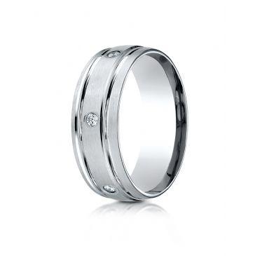 18k White Gold 8mm Comfort-Fit burnish Set 6-Stone Diamond Eternity Ring (.32ct)