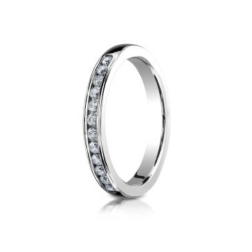 18K White Gold 3mm High Polished Channel Set 12-Stone Diamond Ring (.24ct)
