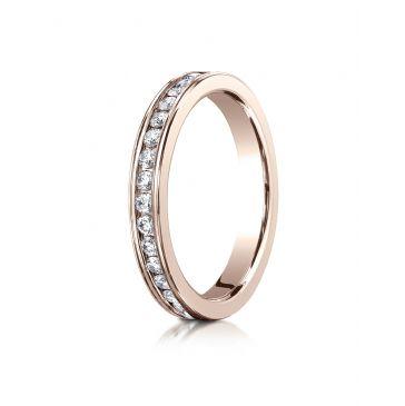 14k ROSE GOLD 3mm Channel Set  Eternity Ring.