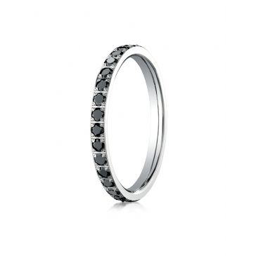 14k White Gold 2mm Pave Set  Black Diamond Eternity Ring