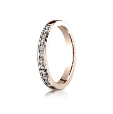14k ROSE GOLD 3mm High Polished Channel Set 12-Stone Diamond Ring (.24ct)