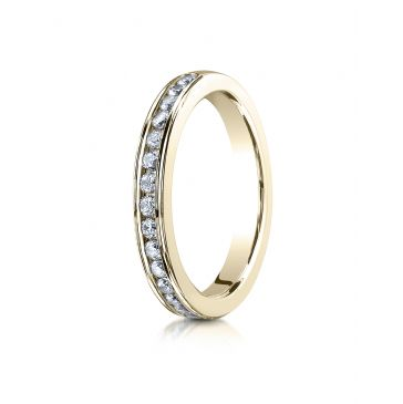 14k YELLOW GOLD 3mm High Polished Channel Set 16-Stone Diamond Ring (.32ct)