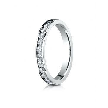 18K White Gold 3mm High Polished Channel Set 12-Stone Diamond Ring (.48ct)