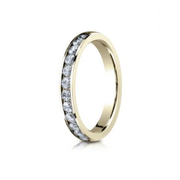 18K YELLOW GOLD 3mm High Polished Channel Set 12-Stone Diamond Ring (.48ct)