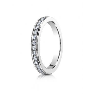 18K White Gold 3mm High Polished Channel Set 16-Stone Diamond Ring (.32ct)