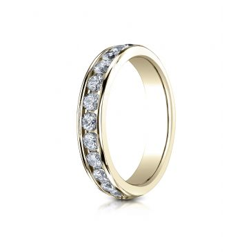 14k YELLOW GOLD 4mm High Polished Channel Set 12-Stone Diamond Ring (.72ct)