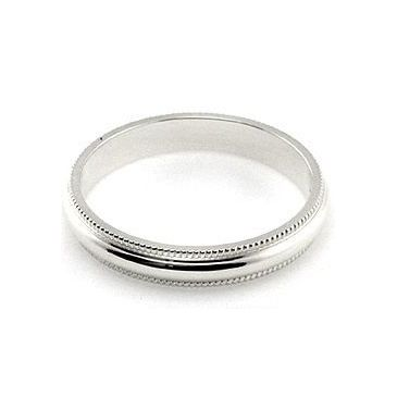 18k White Gold 3mm Milgrain Wedding Band Medium Weight