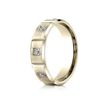 14k Yellow Gold 6mm Comfort-Fit Burnish Set 6-Stone Diamond Eternity Ring (.32ct)