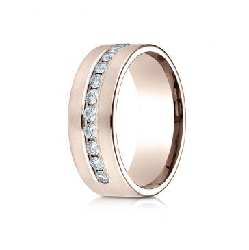 14k Rose Gold 8mm Comfort-Fit  Channel Set 12-Stone Diamond  Ring (.72ct)