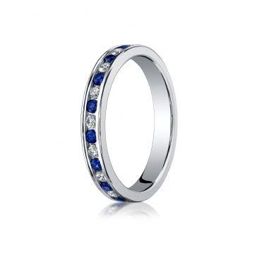 14k White Gold 3mm Channel Set  Diamond&Blue Sapphire Eternity Ring