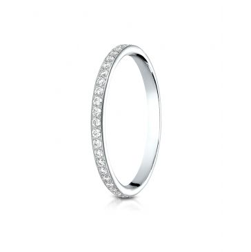 14k White Gold 2mm pave set diamond eternity ring