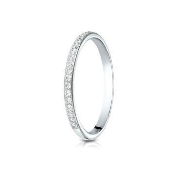 14k White Gold 2mm pave set diamond  ring