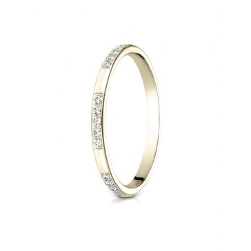 14k Yellow Gold 2mm pave set diamond ring (0.15)ctw